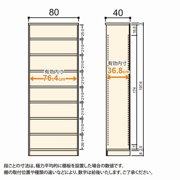 Shelfit(シェルフィット) エースラック/カラーラックM タフタイプ 幅800×奥行400×高さ2111mm ライトナチュラル 1台(2梱包) (取寄品)