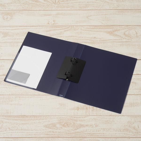 プラス 2リングファイル丸型2穴 A4タテワイド 背幅35mm スーパーエコノミー ネイビー FC-101RW
