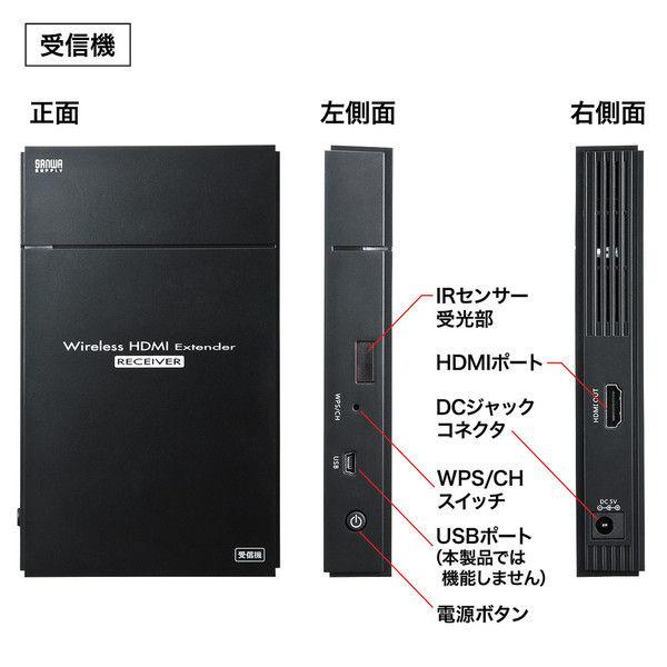 サンワサプライ ワイヤレスHDMIエクステンダー(据え置きタイプ・セットモデル) VGA-EXWHD5 1個 (直送品)