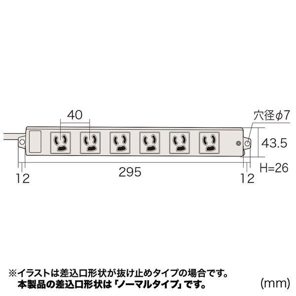 サンワサプライ 工事物件タップ ホワイト(グリーン) 6個口/3m/マグネット付/RoHS指令対応 TAP-K6N-3G (直送品)