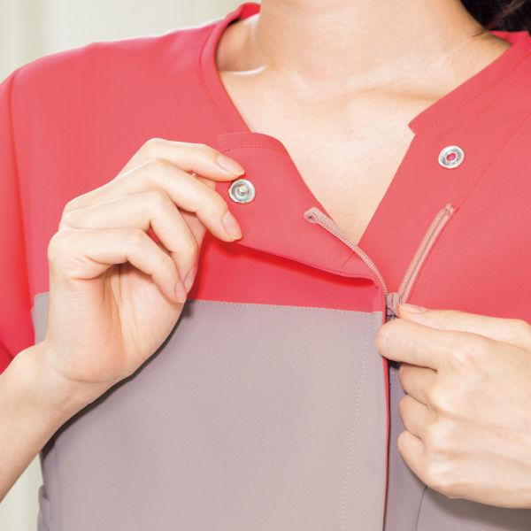 フォーク 医療白衣 ワコールHIコレクション レディスジップスクラブ (サイドジップ) HI701-13 オークル×リリスピンク  S (直送品)