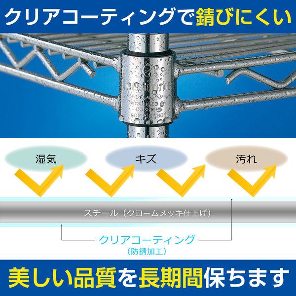 ルミナス ポール径25mm セット品 メタルラック 4段 幅460×奥行460×高さ1565mm NLH4615-4