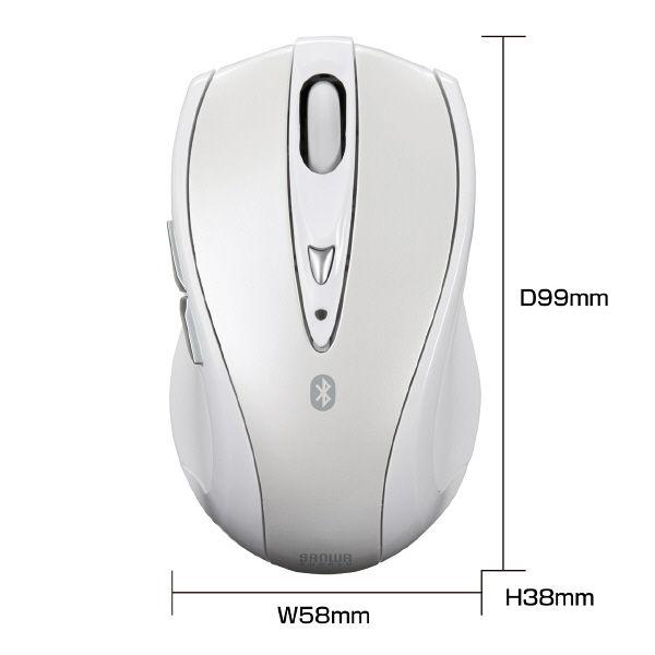 サンワサプライ Bluetoothマウス ホワイト Bluetooth3.0/レーザー方式/5ボタン MA-BTLS23W (直送品)