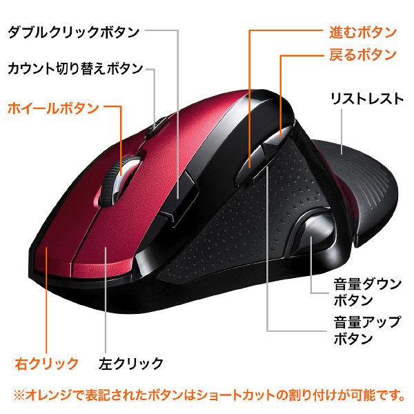 サンワサプライ 無線(ワイヤレス)マウスレッド エルゴノミクス形状/リストレスト付/ダブルクリックボタン付/レーザー方式/9ボタン MA-WLS70R(直送品)