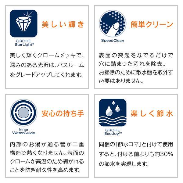 ヤータモン・カーチス シャワーヘッドとホースのセット グローエ (ストップ機能付 4段切替 マッサージ ホース1.6m) GA-FH008 (直送品)