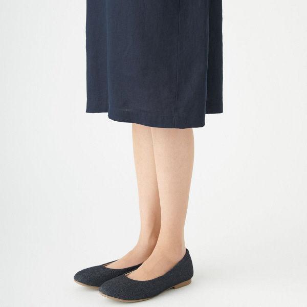無印 フレンチリネン七分袖ワンピ 婦人M