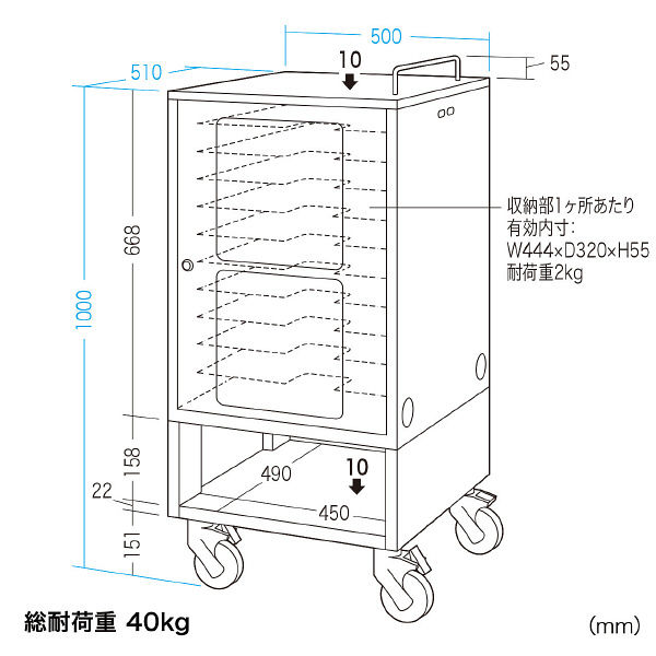 サンワサプライ タブレット収納保管庫(10台収納) 幅500×奥行510×高さ1000mm CAI-CAB23 1台 (直送品)
