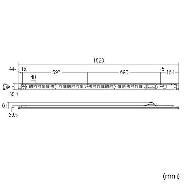 サンワサプライ 19インチサーバーラック用コンセント(20A) TAP-SV2024B (直送品)