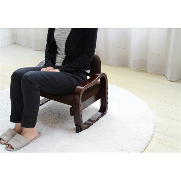 YAMAZEN 立ち上がりラクラク優しい座椅子 ローバック 幅560×奥行445×高さ445mm ダークブラウン 1脚 (直送品)