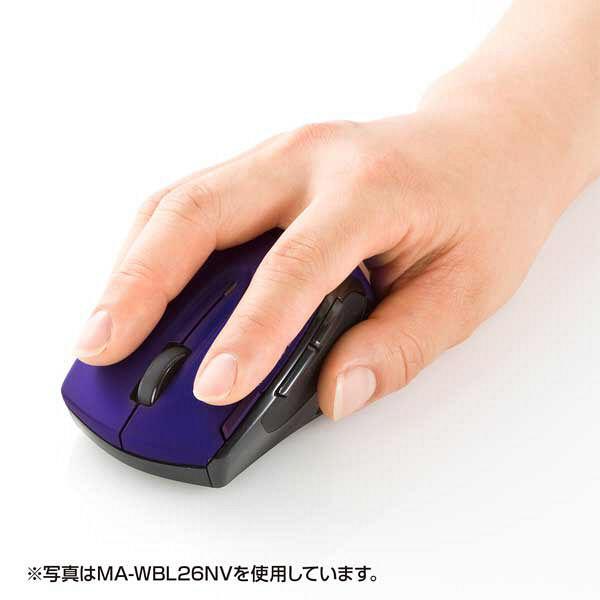 サンワサプライ 無線(ワイヤレス)マウス ブラック×レッド ブルーLED方式/6ボタン MA-WBL26BKR (直送品)