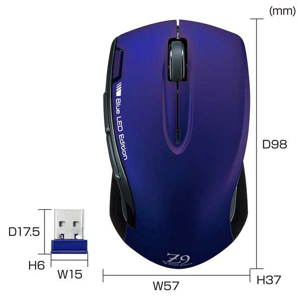 サンワサプライ 無線(ワイヤレス)マウス ネイビー ブルーLED方式/6ボタン MA-WBL26BNV (直送品)