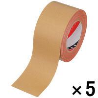 オリーブテープ No.141 0.37mm厚 75mm×25m巻 茶 1セット(5巻:1巻×5) 寺岡製作所