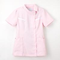 ナガイレーベン チュニック(ロールカラー) 医療白衣 半袖 ピンク L FE-4522(取寄品)