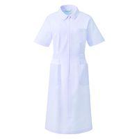 KAZEN ワンピース半袖 (ナースワンピース) 医療白衣 ホワイト L 050-70 (直送品)