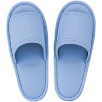 レザー風外縫いスリッパ M ブルー 1足