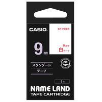 カシオ ネームランドテープ 9mm 白テープ(赤文字) 1個 XR-9WER