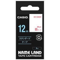 カシオ ネームランドテープ 12mm 白テープ(赤文字) 1個 XR-12WER