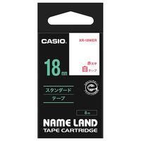 カシオ ネームランドテープ 18mm 白テープ(赤文字) 1個 XR-18WER