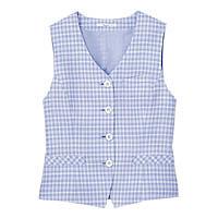 BON(ボン) 事務服 小さいサイズ 春夏用チェックベスト ブルー 5号 HW1809A (直送品)