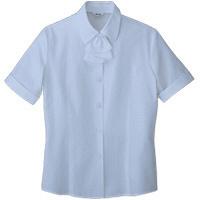 BON(ボン) 事務服 大きいサイズ フリル付き半袖ブラウス ブルー 15号 HW4509A (直送品)