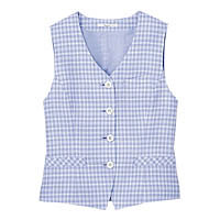 BON(ボン) 事務服 小さいサイズ 春夏用チェックベスト ブルー 7号 HW1809A (直送品)