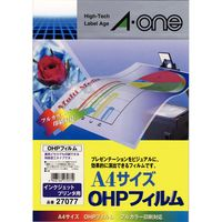 エーワン OHPフィルム インクジェット用 A4 ノーカット 1面 1セット:1袋(10シート入)×2袋 27077(取寄品)