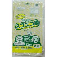 野添産業 スゴエコ袋 70L 透明 厚さ25μ 3S2517025 1箱(1袋10枚入×40)