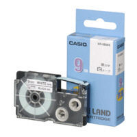 カシオ ネームランドテープ 抗菌テープ 9mm 白テープ(黒文字) 1個 XR9BWE