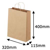 丸紐 クラフト紙手提袋ベーシック 320×400×115 茶 1箱(300枚:50枚×6袋)