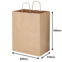 丸紐 クラフト紙手提袋ベーシック 350×430×210 茶 1箱(200枚:50枚入×4袋)