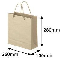 ナチュラルカラー手提袋 丸紐 ベージュ S 1箱(100枚:5枚入×20袋) スーパーバッグ