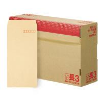 アスクル オリジナルクラフト封筒 長3〒枠あり 茶 3000枚(1000枚×3箱)