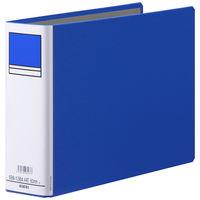 アスクル パイプ式ファイル 両開き ベーシックカラースーパー(2穴)A4ヨコ とじ厚60mm背幅76mm ブルー 3冊
