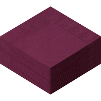 溝端紙工印刷 カラーナプキン 4つ折り 2PLY ワインレッド 1袋(50枚入)