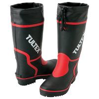 アイトス カラー長靴 ブラック×レッド AZ4701-010-25.5 (直送品)