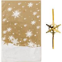 【クリスマス】ゴールドスノーOPP袋&ワイヤータイセット SS 1パック(5枚入) HEADS