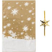 【クリスマス】ゴールドスノーOPP袋&ワイヤータイセット S 1パック(5枚入) HEADS