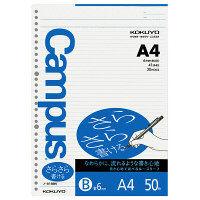 コクヨ キャンパス ルーズリーフ A4 30穴 さらさら書ける 罫幅6mm 50枚 1セット(1250枚:50枚入×25冊) (直送品)