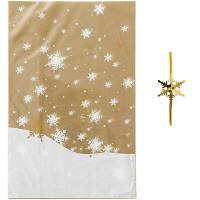 【クリスマス】ゴールドスノーOPP袋&ワイヤータイセット M 1パック(5枚入) HEADS