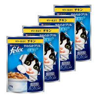 felix(フィリックス) キャットフード やわらかグリル 成猫用 ゼリー仕立て チキン 70g 1セット(4袋) ネスレ日本