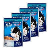 felix(フィリックス) キャットフード やわらかグリル 子猫用 ゼリー仕立て ツナ 70g 1セット(4袋) ネスレ日本