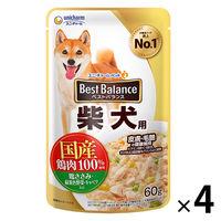 ベストバランス 柴犬用 パウチ 鶏ささみ・緑黄色野菜・キャベツ入り 60g 4袋 国産 ユニ・チャーム