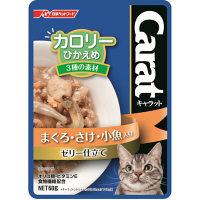Carat(キャラット) キャットフード パウチ カロリーひかえめ 3種の素材 まぐろ・さけ・小魚入り ゼリー仕立て 60g 1箱(12袋)
