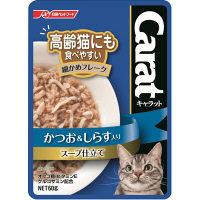 Carat(キャラット) キャットフード パウチ 高齢猫にも食べやすい細かめフレーク かつお&しらす入り スープ仕立て 60g 1箱(12袋)