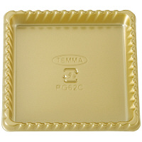 天満紙器 PG62S PETゴールドトレー角型 金 1箱(500枚)