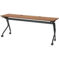 プラス フラップOAテーブル 幕板なし ミディアムウッド 幅1800×奥行450×高さ720mm 1台(2梱包)
