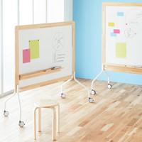 コマイ 天然木枠ホワイトボード(両面タイプ)スチール  幅1525mm イレーザー・マーカー(黒・赤)・マグネット式粉受け付 1台(2梱包)