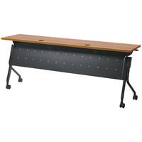 プラス フラップOAテーブル 幕板付き ミディアムウッド 幅1800×奥行450×高さ720mm 1台(3梱包)