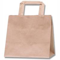 HEIKO/シモジマ 手提げ紙袋 Hフラットチャームバッグ 未晒無地(茶) 220-1 1袋(50枚入)