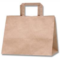 HEIKO/シモジマ 手提げ紙袋 Hフラットチャームバッグ 280-1 未晒無地 1袋(50枚入)